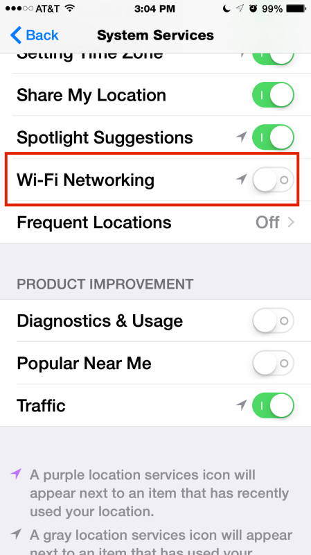 Turn Off Wi-Fi System Service Setting